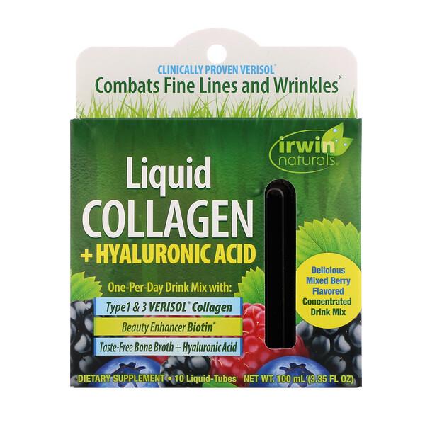 Liquid Collagen + Hyaluronic Acid, Mixed Berry, 10 Liquid-Tubes, 10 ml Each