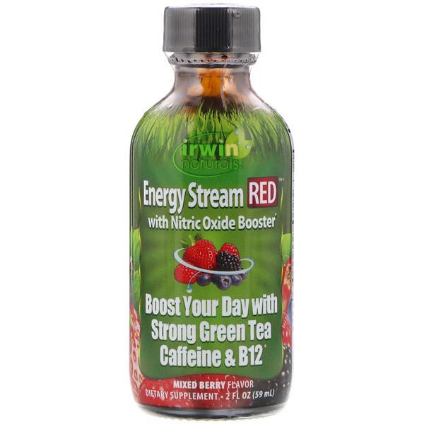 Irwin Naturals, Поток энергии КРАСНЫЙ с усилителем окиси азота, Вкус разных ягод, 2 ж. унц.(59 мл) (Discontinued Item)