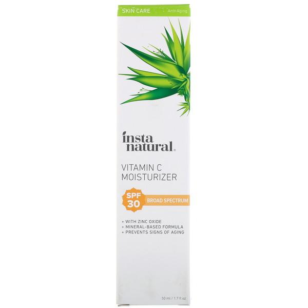 InstaNatural, Увлажняющее средство с витамином С, фактор защиты SPF 30, натуральный солнцезащитный крем на минеральной основе, 50 мл (Discontinued Item)