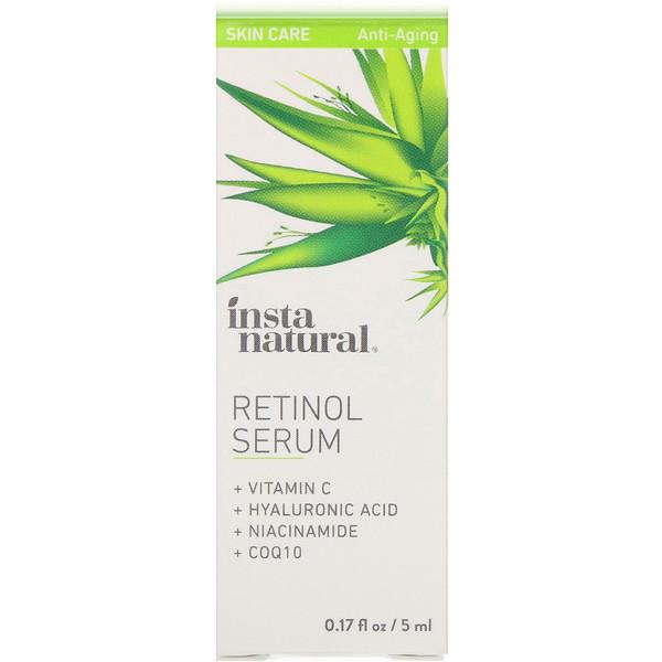 InstaNatural, Ретиноловая сыворотка с гиалуроновой кислотой + витамин C, антивозрастные, 0,17 ж. унц. (5 мл)