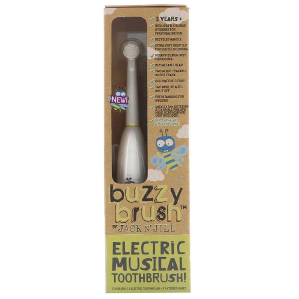 Buzzy Brush, электрическая музыкальная зубная щетка, 1щетка + 1лист с наклейками