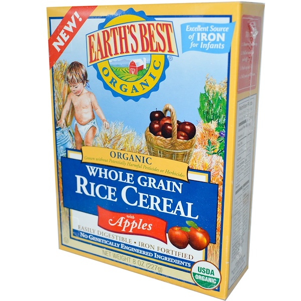 Earth's Best, Цельнозерновой рис с яблоками, 8 унций (227 г) (Discontinued Item)