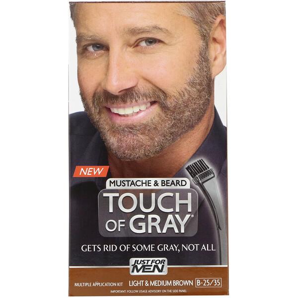 Краска для усов и бороды Touch of Gray, светло- и средне-коричневый B-25/35, 1 набор для многократного использования
