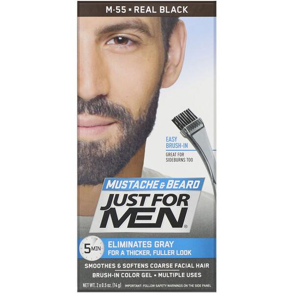 Гель для окрашивания усов и бороды Mustache & Beard, кисточка в комплекте, оттенок черный M-55, 2шт. по 14г