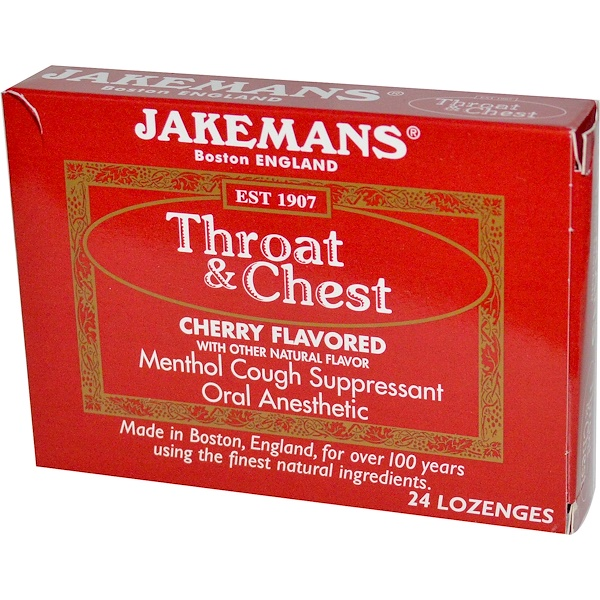 Jakemans, Throat & Chest, Cherry Flavored, 24 Lozenges (Discontinued Item)