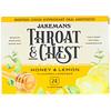 Jakemans, Горло и грудь, вкус меда и лимона, 24 леденца