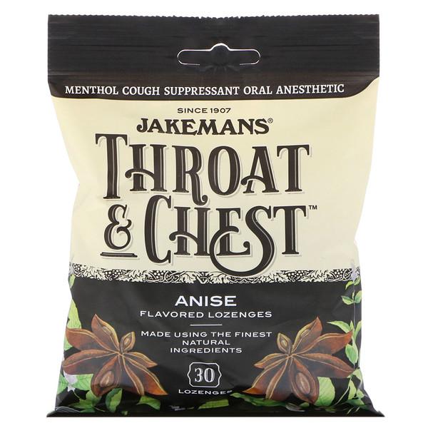 Throat & Chest, Anise Flavored, 30 таблеток для рассасывания