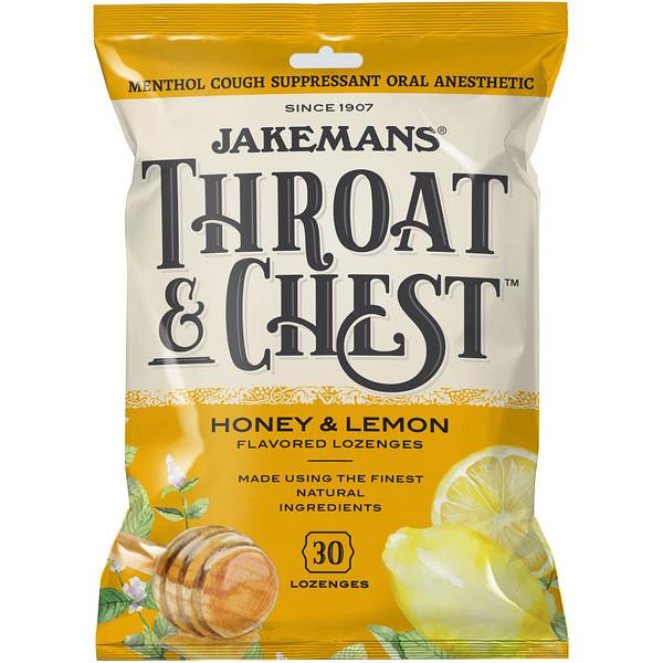 Jakemans, Throat & Chest, вкус «Мед и лимон», 30пастилок
