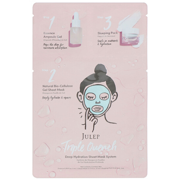 Triple Quench, Deep Hydration Sheet Mask System, 1 Set