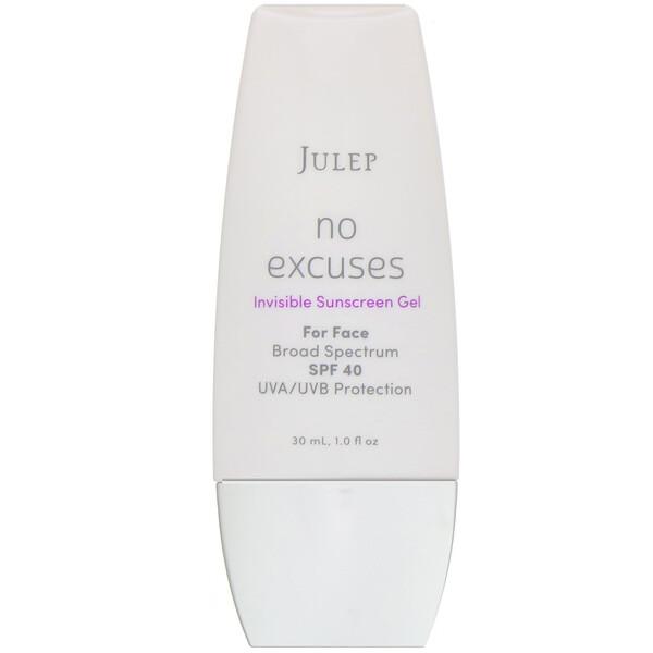 Julep, No Excuses, невидимый солнцезащитный гель с защитным фактором SPF 40, 30 мл (Discontinued Item)