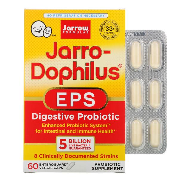 Jarro-Dophilus EPS, пищеварительный пробиотик, 5 миллиардов, 60 вегетарианских капсул Enteroguard