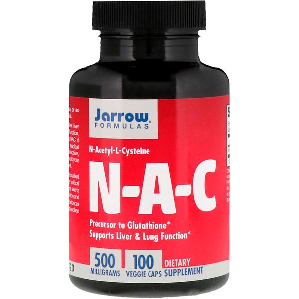 N-A-C, N-ацетил-L-цистеин, 500 мг, 100 вегетерианских капсул