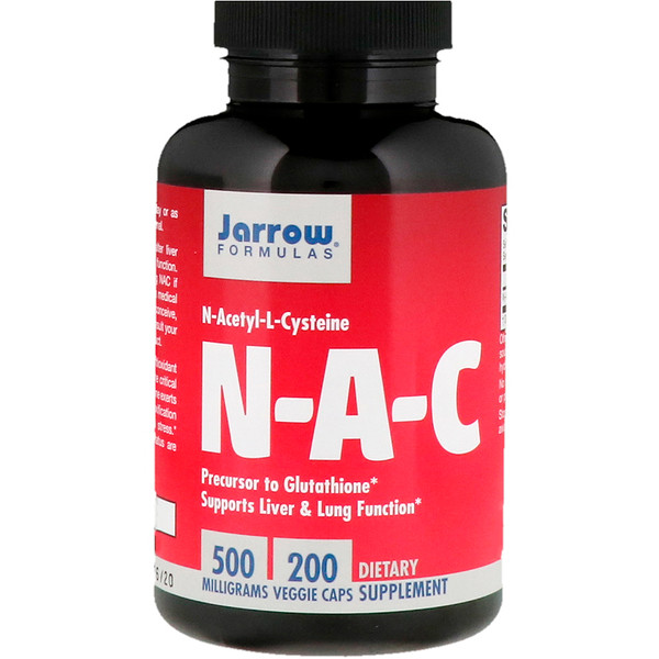 NAC, N-Acetyl-L-Cysteine, 500 мг, 200 растительных капсул