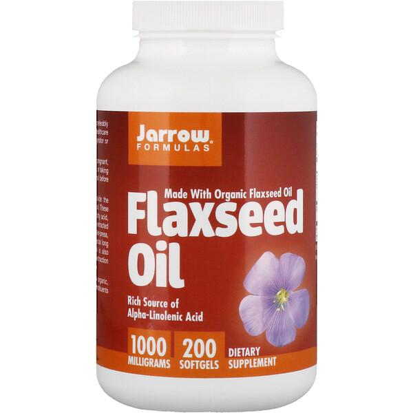 Органическое льняное масло, 1000 мг, 200 мягких желатиновых капсул