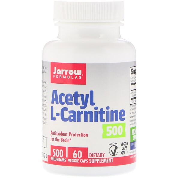 Ацетил-L-карнитин 500, 500 мг, 60 растительных капсул