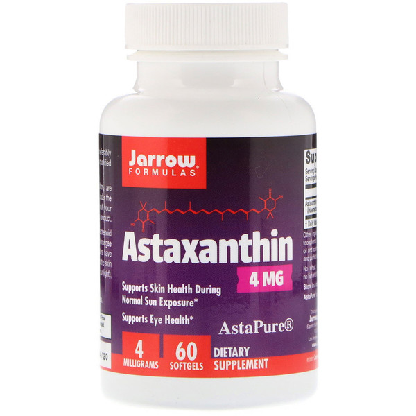 Jarrow Formulas, Астаксантин, 4 мг, 60 мягких желатиновых капсул