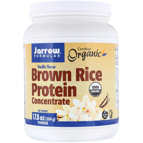 Jarrow Formulas, Концентрат органического белка коричневого риса, порошок с ароматом ванили, 17,8 унций (504 г) (Discontinued Item)
