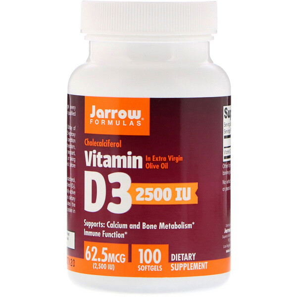 Витамин D3, холекальциферол, 2500 МЕ, 100 мягких желатиновых капсул