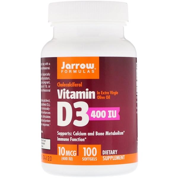 Витамин D3, Холекальциферол, 400 МЕ, 100 гелевых капсул