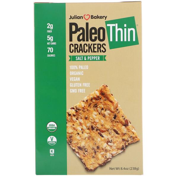 Julian Bakery, тонки крекеры для палеодиеты, с солью и перцем, 238 г (8,4 унции)