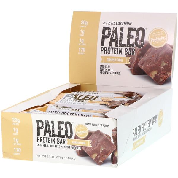 PALEO Protein Bar, Almond Fudge, 12 Bars, 2.0 oz (56.3 g) Each