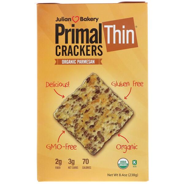 Julian Bakery, Тонкие крекеры, пармезан органического происхождения, 8,4 унции (238 г)