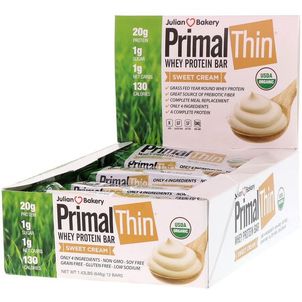 Julian Bakery, PrimalThin батончик с сывороточным протеином, Сливки, 12баточников, 648г (1,43фунта)