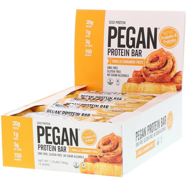 PEGAN Protein Bar, Vanilla Cinnamon Twist, 12 Bars, 2.29 oz (65 g) Each