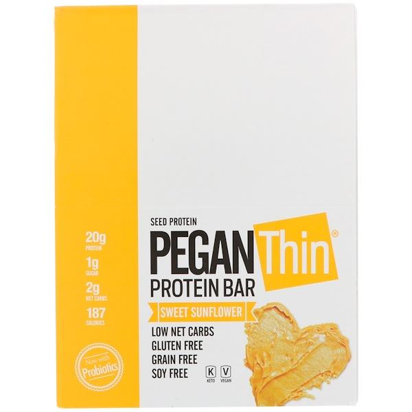 PEGAN Thin Protein Bar, Sweet Sunflower, 12 Bars, 12 Bars, 2.29 oz (65 g) Each
