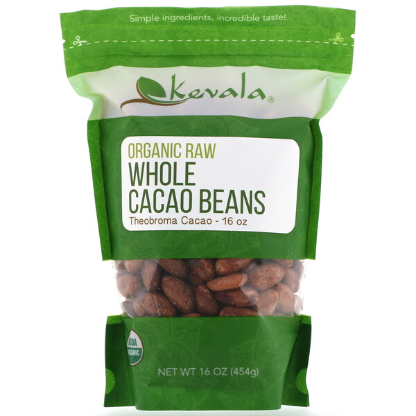 Organic Raw Whole Cacao Beans, 16 oz (454 g)