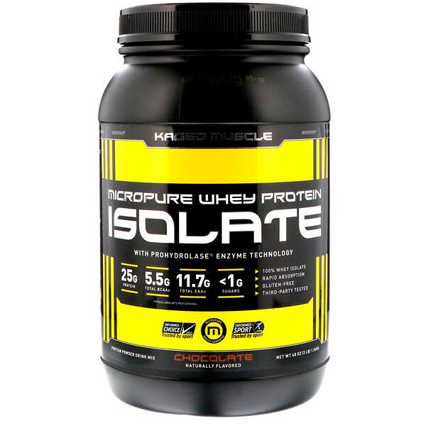 Kaged Muscle, Мегачистый сывороточный изолят белка, шоколад, 48 унций (1,36 кг)