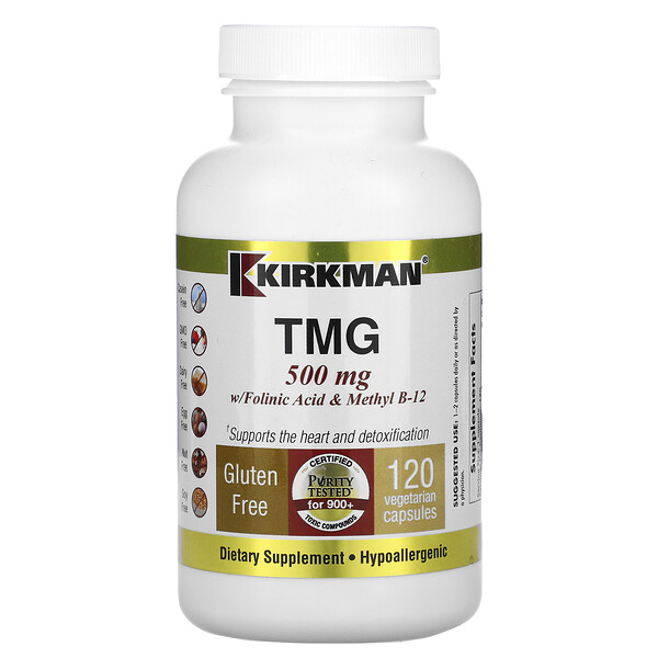 Kirkman Labs, TMG с фолиновой кислотой и метилкобаламином, 500 мг, 120 капсул