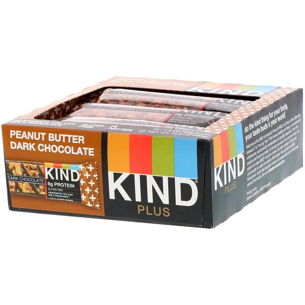 Kind Plus, батончик из темного шоколада с арахисовой пастой, 12батончиков по 40г (1,4унции)