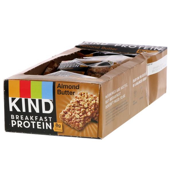 Протеин для завтрака, миндальное масло, 8 упаковок по 2 батончика, по 1,76 унции (50 г) каждый