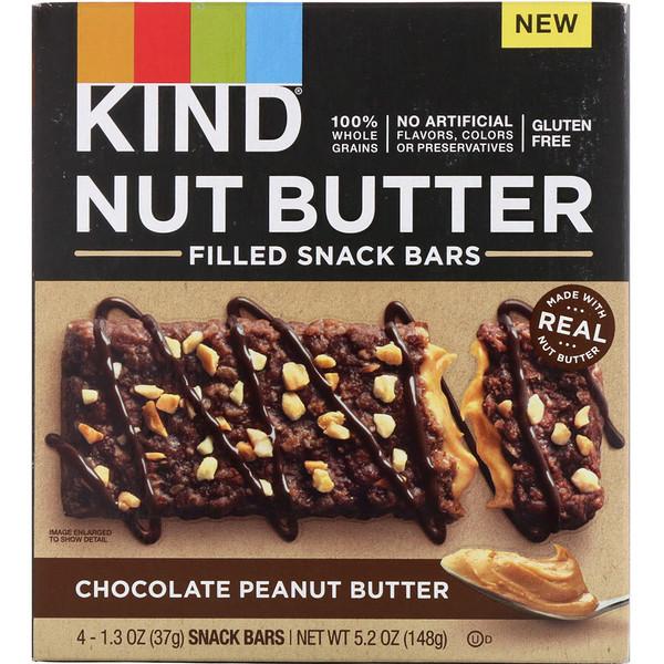 Батончики для закуски с ореховым маслом, шоколадно-арахисовое масло, 4 батончика, по 1,3 унции (37 г) каждый