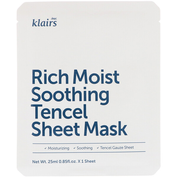 Rich Moist Soothing Tencel Sheet Mask, 1 Sheet, 0.85 fl oz (25 ml)