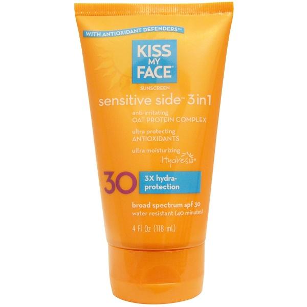 Kiss My Face, Sensitive Side солнцезащитное средство 3 в 1, SPF 30, 4 жидкие унции (118 мл) (Discontinued Item)