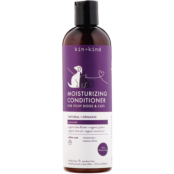 Kin+Kind, Moisturizing Conditioner, for Itchy Dogs & Cats, Unscented, 12 fl oz (354 ml)