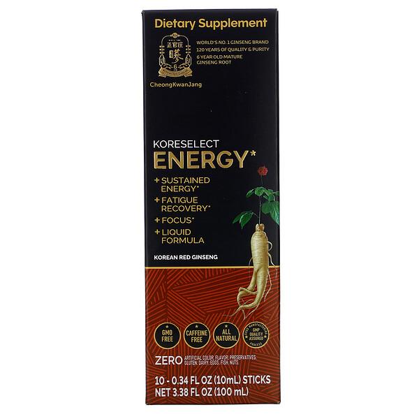 Koreselect, Energy, 10 Sticks, 0.34 fl oz (10 ml) Each