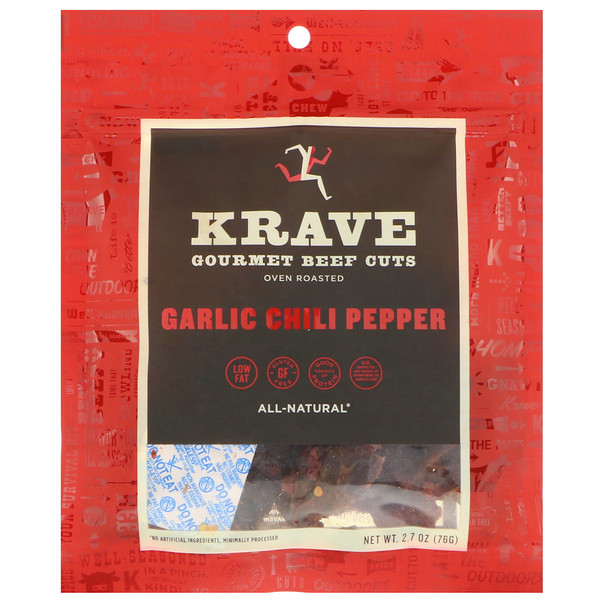 Krave, Gourmet Beef Cuts, Garlic Chili Pepper, 2.7 oz (76 g) (Discontinued Item)