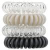 Kitsch, Спиральные резинки для волос серебристых оттенков, 4шт.
