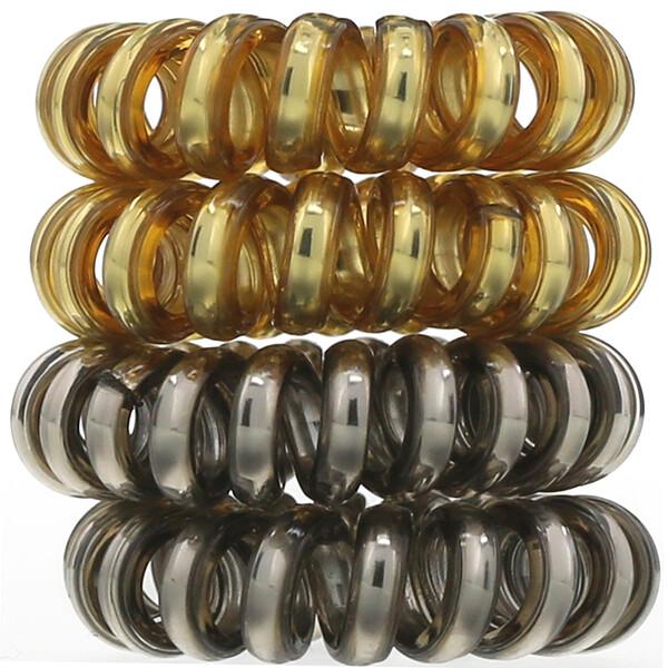 Спиральные резинки для волос металлических оттенков, 4шт.