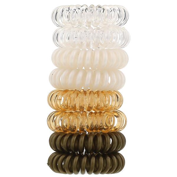 Спиральные резинки для волос, светлые оттенки, 8шт.