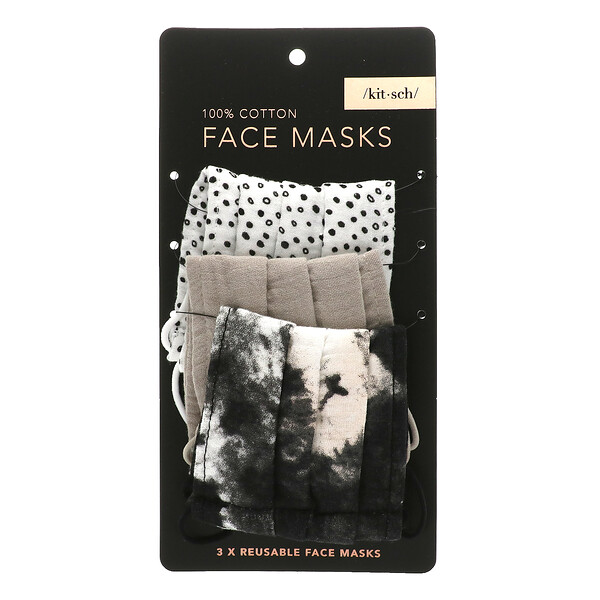 многоразовые маски для лица из 100% хлопка, нейтральный оттенок, 3шт. в упаковке