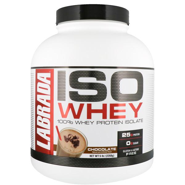 ISO Whey, 100%-ный изолят сывороточного белка, шоколад, 5 фунтов (2268 г)