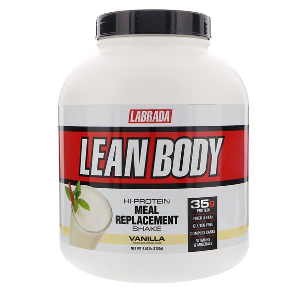 Lean Body, высокопротеиновый котейль, заменитель пищи, ваниль, 4,63 фунта (2100 г)