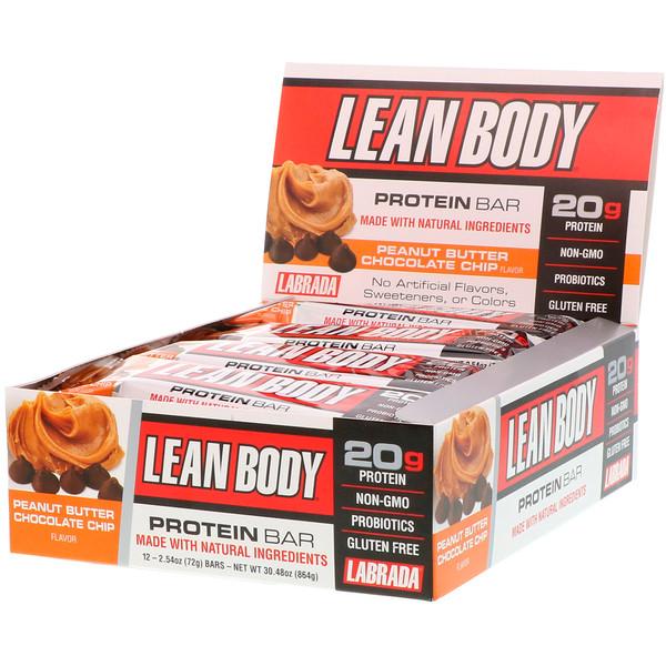 """Labrada Nutrition, """"Стройное тело"""", белковые батончики со вкусом арахисовой пасты с кусочками шоколада, 12 батончиков по 2,54 унции (72 г) (Discontinued Item)"""