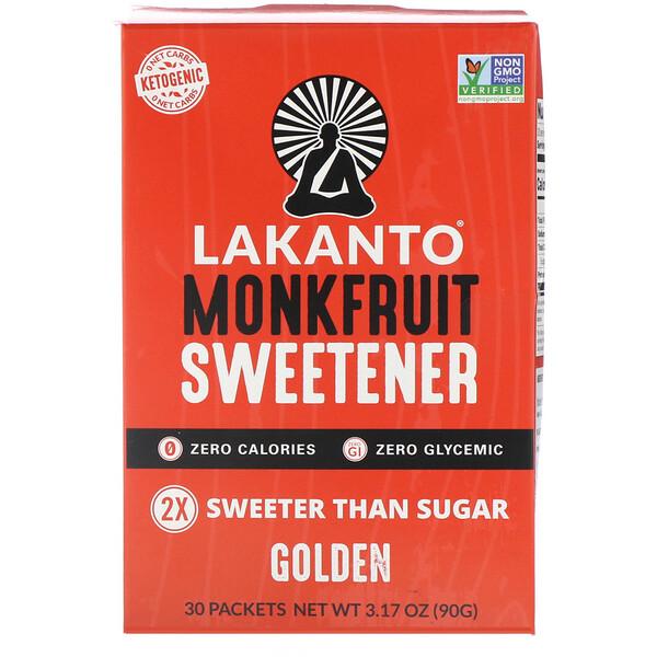 Lakanto, Monkfruit Sweetener, Golden, 30 Packets