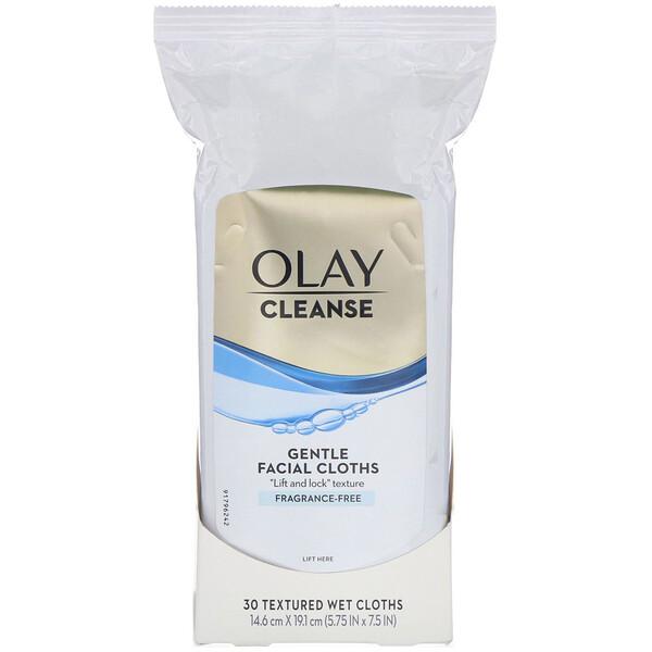 Olay, Cleanse, мягкие салфетки для лица, без отдушек, 30текстурных влажных салфеток