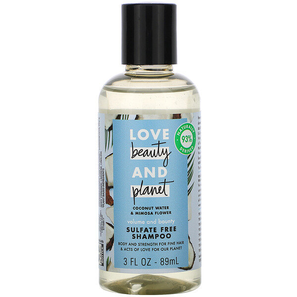 Volume and Bounty Shampoo, Coconut Water & Mimosa Flower, 3 fl oz (89 ml)